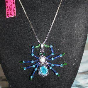 Nwt Wild Life:Aqua Blue Lime Green Spider Necklace